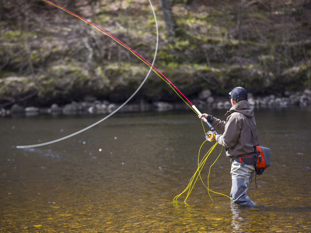 Fly fishing on River Tay